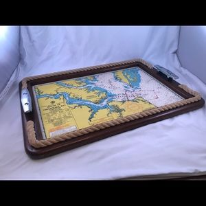 Vintage Chesapeake Bay Nautical Wood Serving Tray